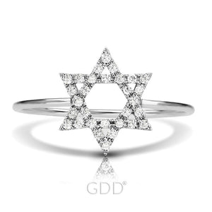FINE 14K GOLD STAR OF DAVID DIAMOND RING