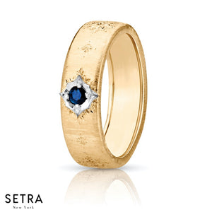 18K FINE GOLD BLUE SAPPHIRE WEDDING BAND RING