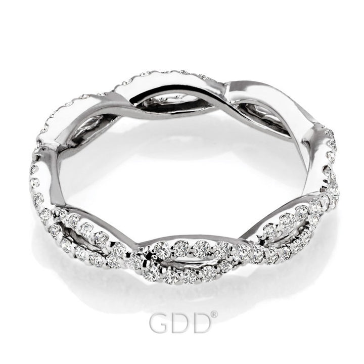 14K WHITE GOLD & DIAMONDS ETERNITY INFINITY WEDDING BAND RING