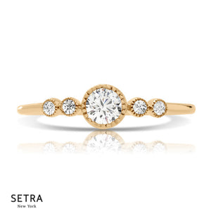 Center Round Cut Diamond Engagement Ring 14kt Gold