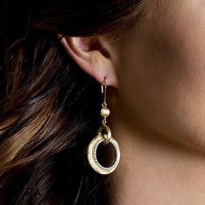 DESIGNER 14K FINE YELLOW GOLD DIAMONDS CIRCLE CHANDELIER EARRING