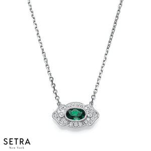 14K FINE GOLD VINTAGE ROUND EMERALD & DIAMONDS NECKLACE