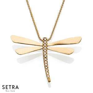 14K FINE YELLOW GOLD DRAGONFLY & DIAMONDS NECKLACE