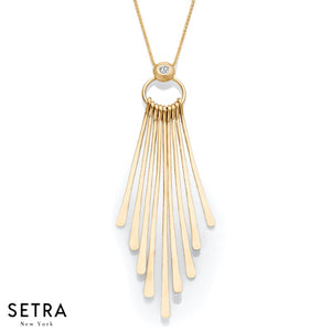 14K FINE YELLOW GOLD HANGING STICK DIAMONDS NECKLACE