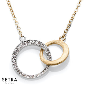 DESIGNER 14K FINE WHITE & YELLOW GOLD DIAMONDS DOUBLE CIRCLE NECKLACE