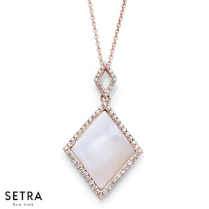 DESIGNER 14K FINE ROSE GOLD WITH SQUARE NECKLACE MATT FINISH PEARL & DIAMONDS