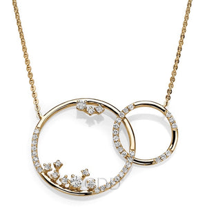14K FINE YELLOW GOLD INTERTWINED CIRCLE & DIAMONDS NECKLACE