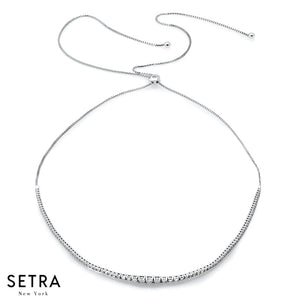 14K FINE WHITE GOLD WITH DIAMONDS ADJUSTABLE NECKLACE