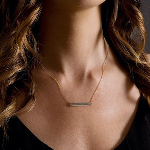 Labradorite & Diamond Bar Necklaces 14kt Gold