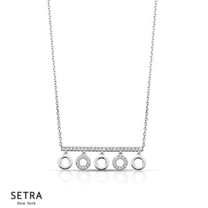 Circle & Bar Diamond Necklace 14k Gold