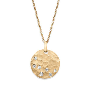 Flat Disc Circle Diamond Necklace 14k Gold