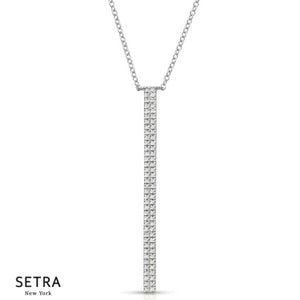 Double Row Diamond Bar Necklace 14k Gold