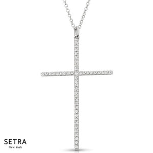 Classic Diamond Cross 14kt Gold Necklace