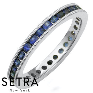 18K FINE GOLD ROUND CUT SAPPHIRE CHANNEL SET ETERNITY WEDDING BAND RINGS