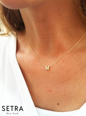 Initial Necklace 14kt Gold