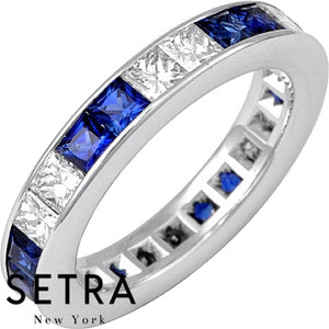 14K FINE GOLD PRINCESS CUT SAPPHIRE & DIAMONDS ETERNITY WEDDING BAND RING