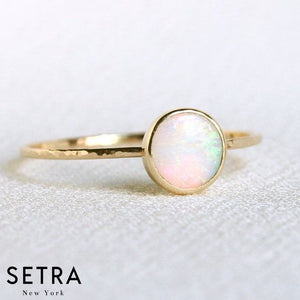 14kt Fine Gold Harmed Opal Ring