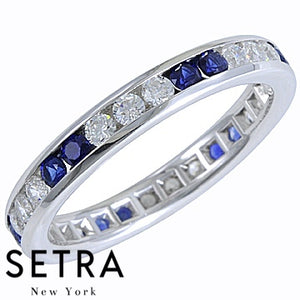 18K FINE GOLD ROUND CUT SAPPHIRE & DIAMONDS ETERNITY WEDDING BAND RING