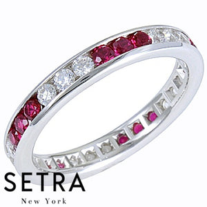 18K FINE GOLD RUBY & DIAMONDS ETERNITY WEDDING BAND RING
