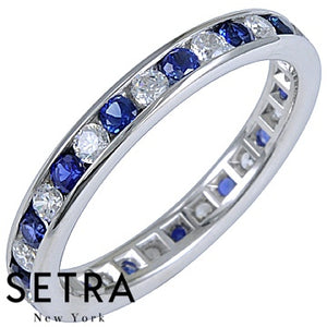 18K FINE GOLD SAPPHIRE & DIAMONDS ETERNITY WEDDING BAND RING