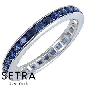 18K FINE GOLD ROUND CUT SAPPHIRE ETERNITY WEDDING BAND RING