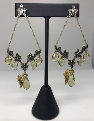 Peridot Angel Earrings
