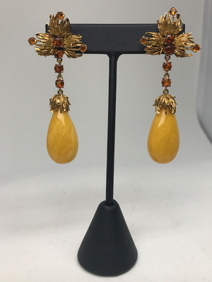 Vintage Citrine Dangle Earrings