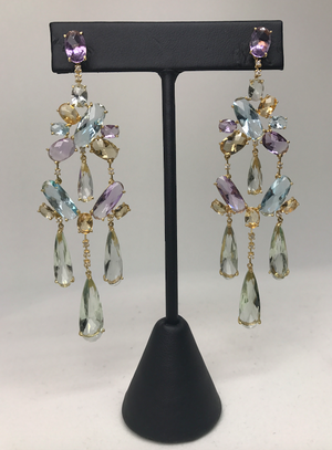 Natural Gemstone Dangle Earrings