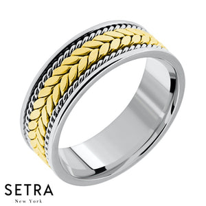 Equality Hand Craft Work Designer For Him & Hers Solid Wedding Band 14K Gold