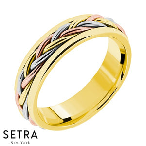 Hand Craft Work Designer For Him & Hers Solid Wedding Band 14K Gold