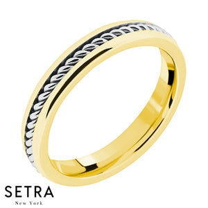 Balinese Wire Hand Craft Work Designer For Him & Hers Solid Wedding Band 14K Gold