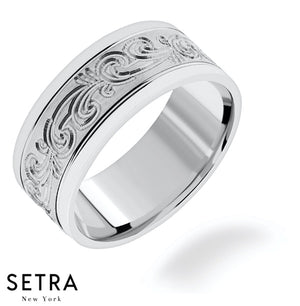 Engraved Hand Artisan Carved Craft Work Designer For Him & Hers Solid Wedding Band 14K Gold
