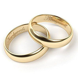 Set of Designer For Him & Hers Solid Plain Wedding Band 14K Gold