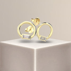 Pixie Baguette Diamond Bezel Hoop Setting Earrings 18k Gold