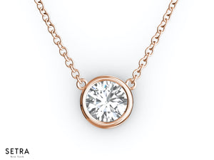 1.55ct 14K Fine Rose Gold Diamond Solitaire Necklaces Bazel Set