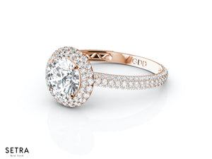 MICRO-PAVE SET DIAMOND ENGAGEMENT DOUBLE ROW HALO 14K GOLD RING