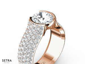 MICRO-PAVE SETTING FINE ROSE 14K GOLD RING DIAMOND ENGAGEMENT RINGS