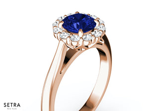 PRINCESS DIANA FINE 14K ROSE GOLD DIAMOND & SAPPHIRE HALO ENGAGEMENT RING