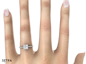 CENTER PRINCESS CUT DIAMOND ENGAGEMENT RING 14K GOLD