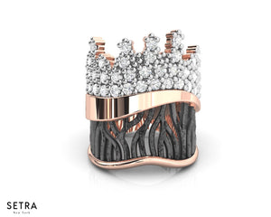 Woods Crown Diamond Ring Fine 14k Pink Gold with Black and White Rhodium