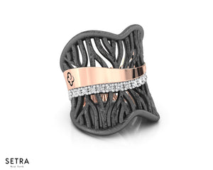 Woods Eternal Fine 14k Pink Gold with Black and White Rhodium Diamond Ring