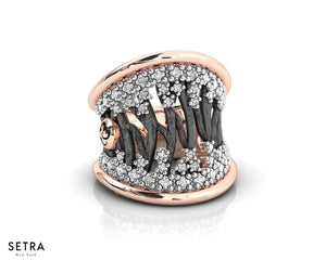 Woods Stars Ring Diamond Fine 14k Pink Gold with Black and White Rhodium