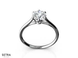 14K SOLITARY ROYAL CROWN DIAMOND ENGAGEMENT SIX PRONG RING