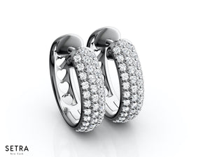 1.00CT MICRO PAVE SETTING HOOP EARRINGS THREE ROW SETTING