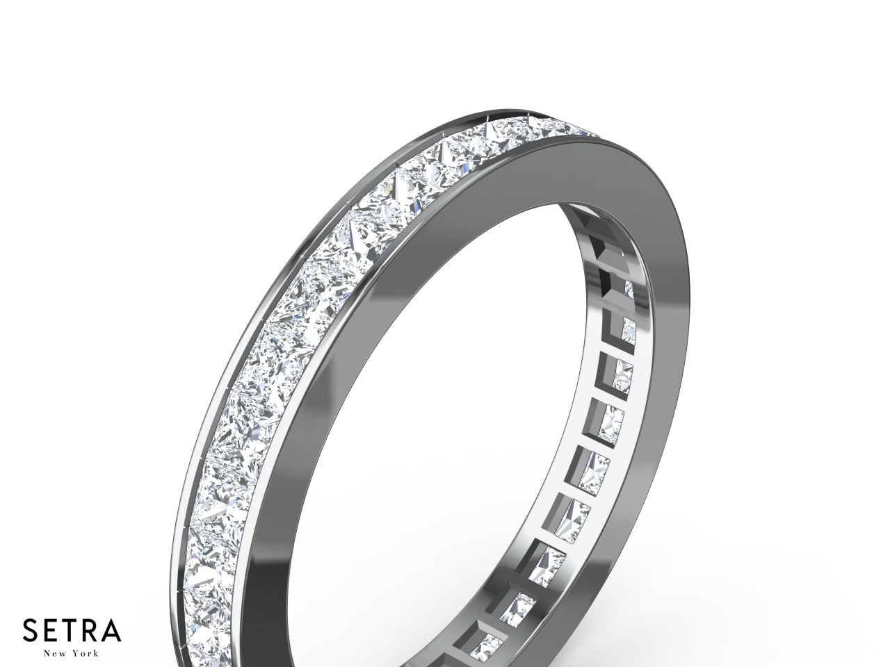 shop band platinum bands eternity princess ring in wedding tw for ct diamond p cut