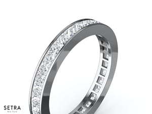 14K FINE GOLD PRINCESS CUT DIAMONDS WOMEN'S ETERNITY WEDDING BAND CHANAL SET RINGS RINGS
