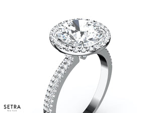 MICRO-PAVE HALO DIAMOND ENGAGEMENT RING 14K GOLD