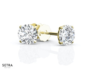 18K SCREW BACK  FINE GOLD DIAMOND STUD EARRING