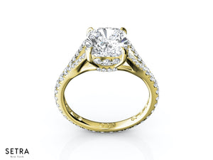14K GOLD PAVE SPLIT SHANK DIAMOND ENGAGEMENT RING