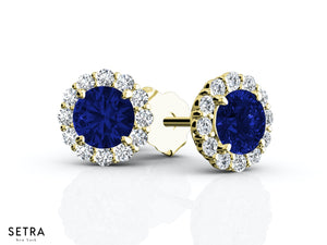 CENTER OF MY LIFE DIAMONDS & SAPPHIRE HALO STUD EARRINGS 14K GOLD